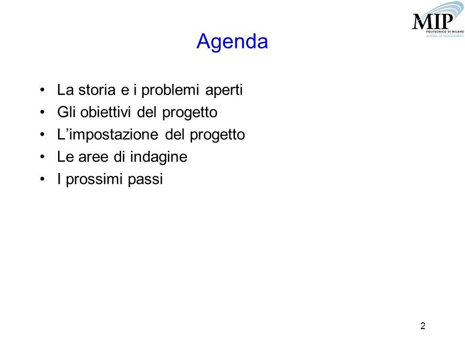 2 Agenda La storia e i problemi aperti Gli obiettivi del progetto L'impostazione del progetto Le aree di indagine I prossimi passi