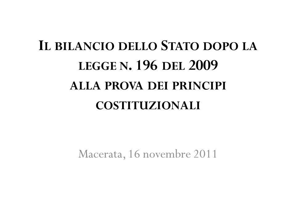 I L BILANCIO DELLO S TATO DOPO LA LEGGE N.