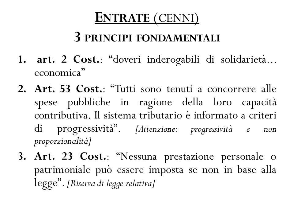 E NTRATE ( CENNI ) 3 PRINCIPI FONDAMENTALI 1. art.
