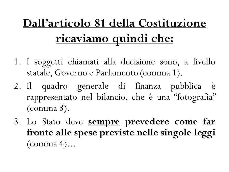 Dall'articolo 81 della Costituzione ricaviamo quindi che: 1.I soggetti chiamati alla decisione sono, a livello statale, Governo e Parlamento (comma 1).