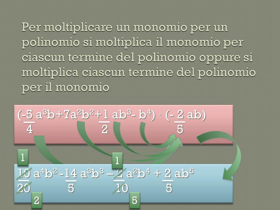 (-5 a 3 b+7a 2 b 2 +1 ab 3 - b 4 ). (- 2 ab) 4 2 5 4 2 5 (-5 a 3 b+7a 2 b 2 +1 ab 3 - b 4 ). (- 2 ab) 4 2 5 4 2 5 10 a 4 b 2 -14 a 3 b 3 – 2 a 2 b 4 +