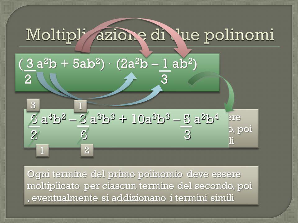 ( 3 a 2 b + 5ab 2 ). (2a 2 b – 1 ab 2 ) 2 3 2 3 ( 3 a 2 b + 5ab 2 ). (2a 2 b – 1 ab 2 ) 2 3 2 3 Ogni termine del primo polinomio deve essere moltiplic