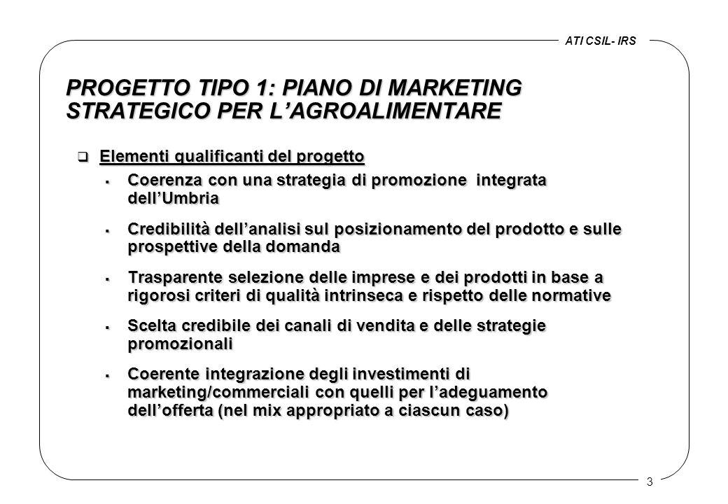 3 PROGETTO TIPO 1: PIANO DI MARKETING STRATEGICO PER L'AGROALIMENTARE q Elementi qualificanti del progetto  Coerenza con una strategia di promozione