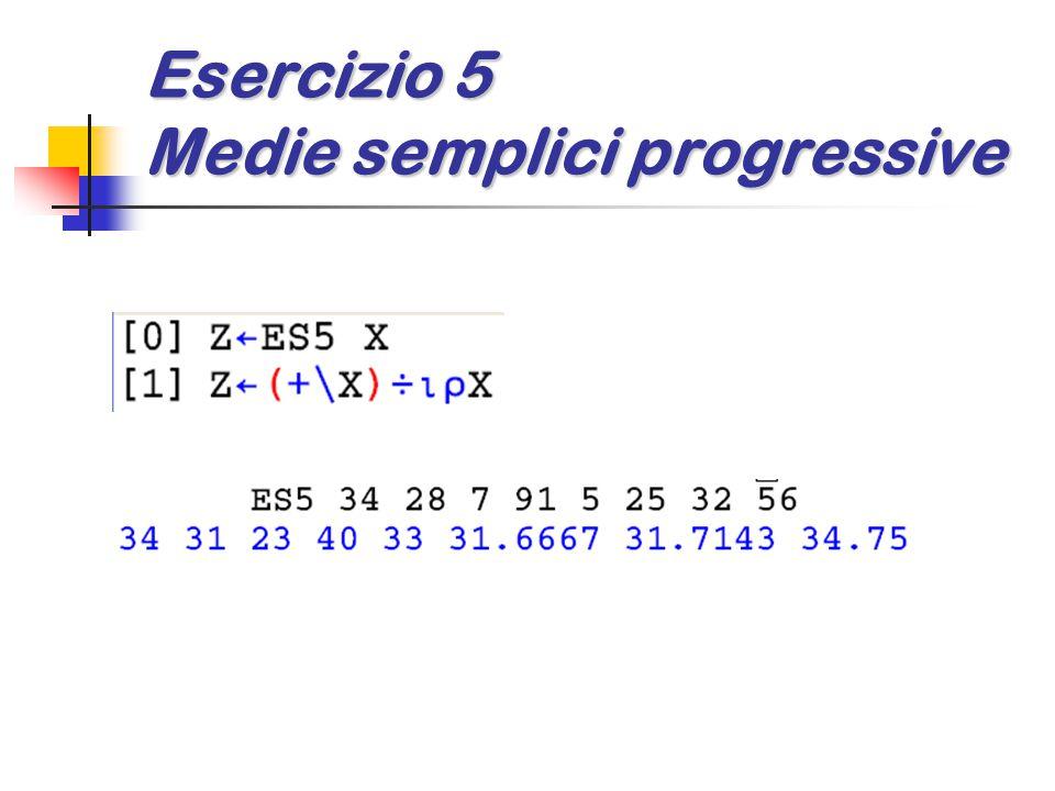 Esercizio 5 Medie semplici progressive