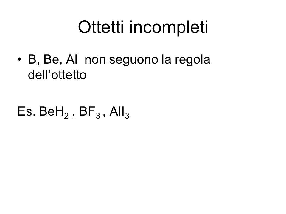 Ottetti incompleti B, Be, Al non seguono la regola dell'ottetto Es. BeH 2, BF 3, AlI 3