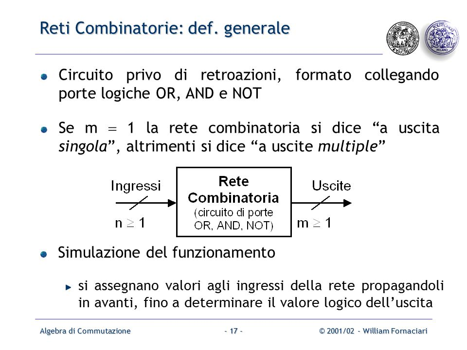 Algebra di Commutazione© 2001/02 - William Fornaciari- 17 - Reti Combinatorie: def.