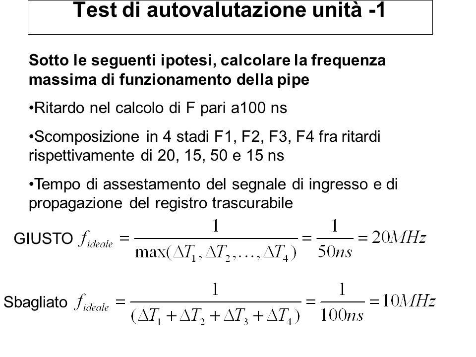 Test di autovalutazione unità -1 Sotto le seguenti ipotesi, calcolare la frequenza massima di funzionamento della pipe Ritardo nel calcolo di F pari a100 ns Scomposizione in 4 stadi F1, F2, F3, F4 fra ritardi rispettivamente di 20, 15, 50 e 15 ns Tempo di assestamento del segnale di ingresso e di propagazione del registro trascurabile GIUSTO Sbagliato