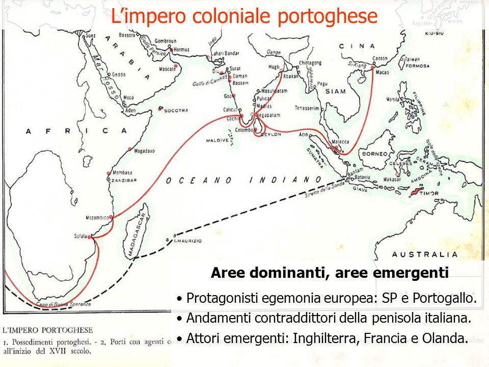 Aree dominanti, aree emergenti Protagonisti egemonia europea: SP e Portogallo.