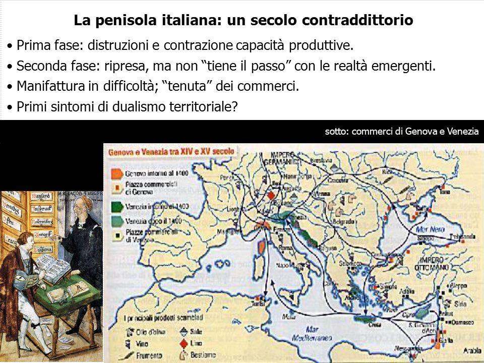 La penisola italiana: un secolo contraddittorio Prima fase: distruzioni e contrazione capacità produttive.
