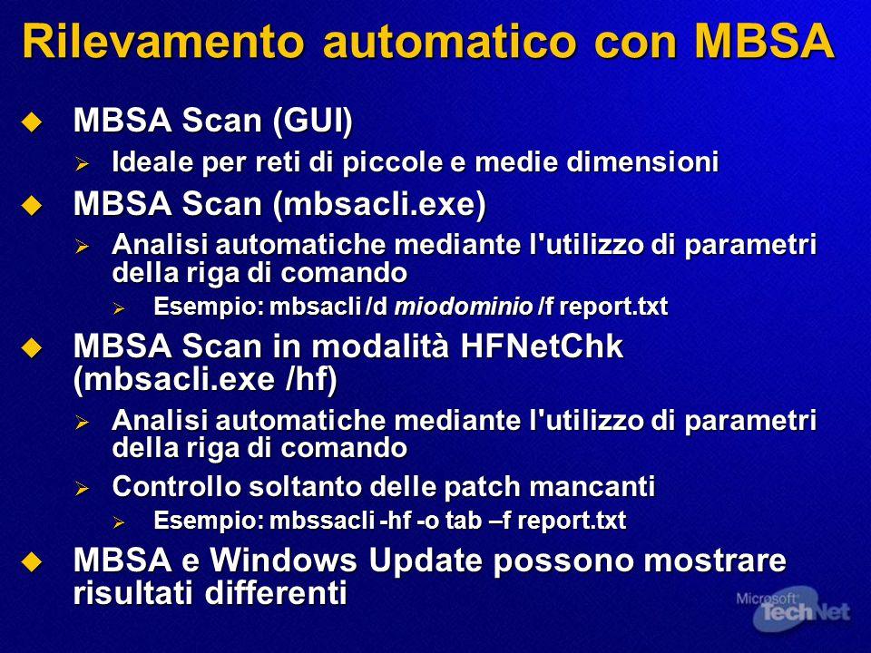 Rilevamento automatico con MBSA  MBSA Scan (GUI)  Ideale per reti di piccole e medie dimensioni  MBSA Scan (mbsacli.exe)  Analisi automatiche mediante l utilizzo di parametri della riga di comando  Esempio: mbsacli /d miodominio /f report.txt  MBSA Scan in modalità HFNetChk (mbsacli.exe /hf)  Analisi automatiche mediante l utilizzo di parametri della riga di comando  Controllo soltanto delle patch mancanti  Esempio: mbssacli -hf -o tab –f report.txt  MBSA e Windows Update possono mostrare risultati differenti