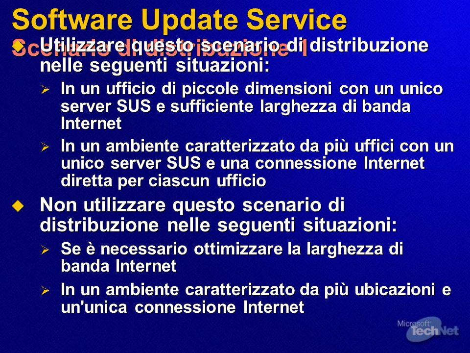 Software Update Service Scenario di distribuzione 1  Utilizzare questo scenario di distribuzione nelle seguenti situazioni:  In un ufficio di piccol