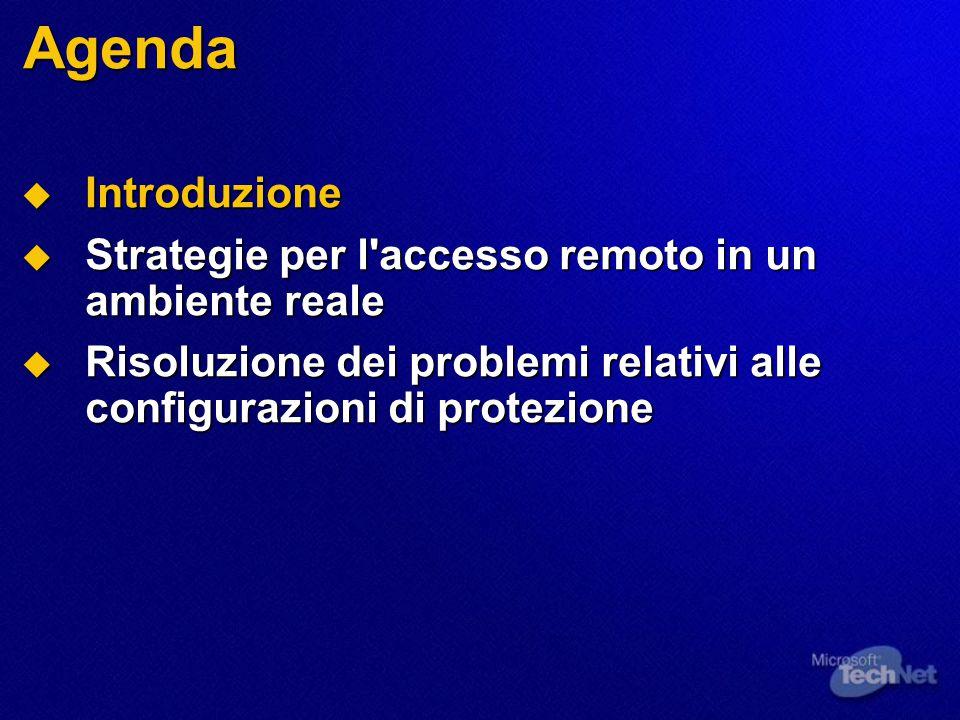 Agenda  Introduzione  Strategie per l'accesso remoto in un ambiente reale  Risoluzione dei problemi relativi alle configurazioni di protezione