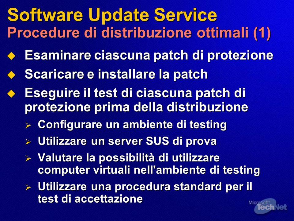 Software Update Service Procedure di distribuzione ottimali (1)  Esaminare ciascuna patch di protezione  Scaricare e installare la patch  Eseguire