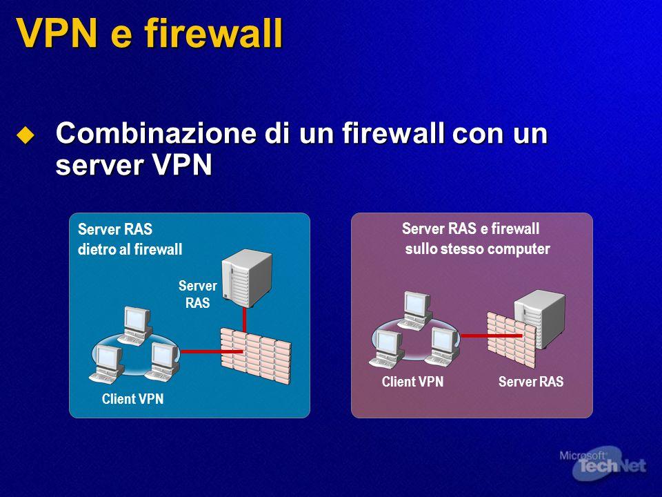 VPN e firewall  Combinazione di un firewall con un server VPN Server RAS dietro al firewall Client VPN Server RAS Server RAS e firewall sullo stesso computer Client VPNServer RAS