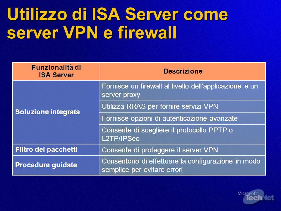 Utilizzo di ISA Server come server VPN e firewall Funzionalità di ISA Server Descrizione Soluzione integrata Fornisce un firewall al livello dell applicazione e un server proxy Utilizza RRAS per fornire servizi VPN Fornisce opzioni di autenticazione avanzate Consente di scegliere il protocollo PPTP o L2TP/IPSec Filtro dei pacchetti Consente di proteggere il server VPN Procedure guidate Consentono di effettuare la configurazione in modo semplice per evitare errori
