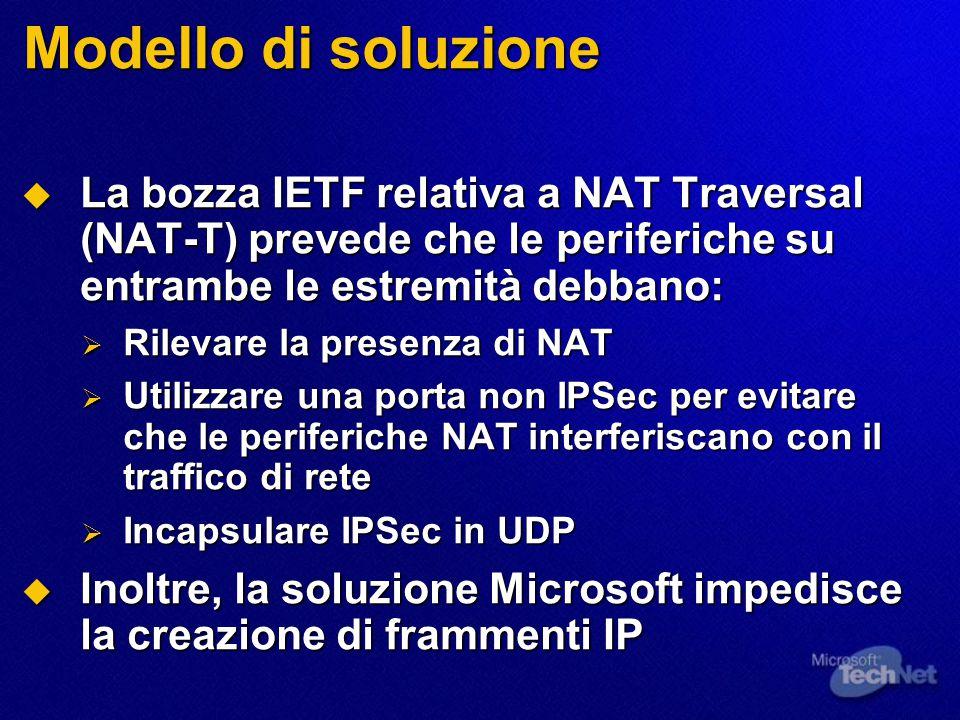 Modello di soluzione  La bozza IETF relativa a NAT Traversal (NAT-T) prevede che le periferiche su entrambe le estremità debbano:  Rilevare la presenza di NAT  Utilizzare una porta non IPSec per evitare che le periferiche NAT interferiscano con il traffico di rete  Incapsulare IPSec in UDP  Inoltre, la soluzione Microsoft impedisce la creazione di frammenti IP