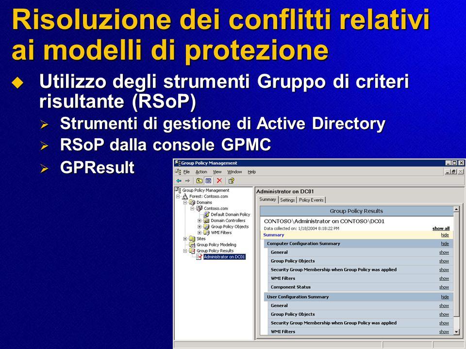 Risoluzione dei conflitti relativi ai modelli di protezione  Utilizzo degli strumenti Gruppo di criteri risultante (RSoP)  Strumenti di gestione di Active Directory  RSoP dalla console GPMC  GPResult