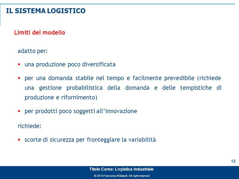 © 2014 Francesco Rabajoli - All right reserved 13 Titolo Corso: Logistica Industriale Limiti del modello adatto per:  una produzione poco diversifica
