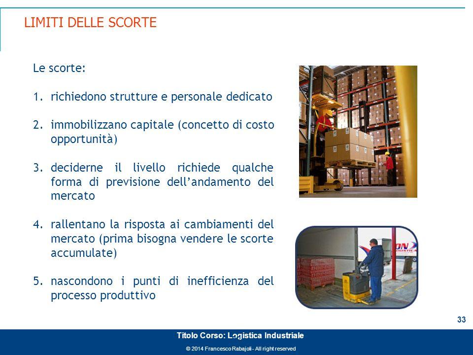© 2014 Francesco Rabajoli - All right reserved 33 Titolo Corso: Logistica Industriale LIMITI DELLE SCORTE 33 Le scorte: 1.richiedono strutture e perso
