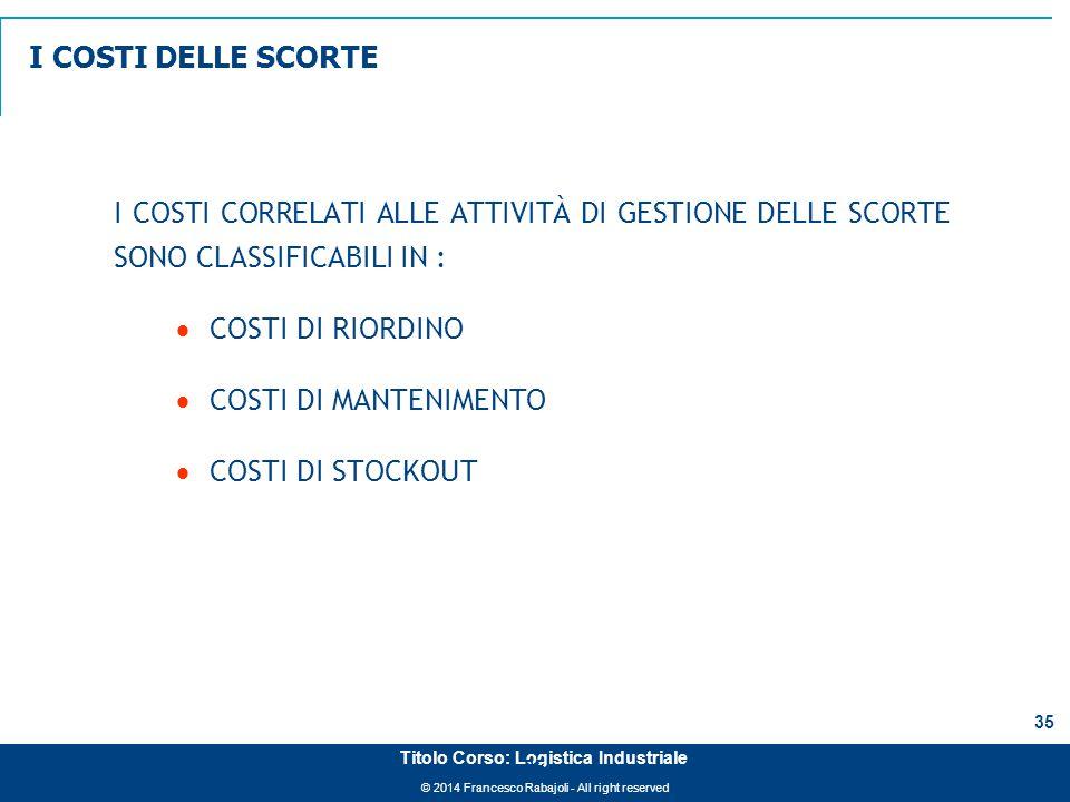 © 2014 Francesco Rabajoli - All right reserved 35 Titolo Corso: Logistica Industriale 35 I COSTI CORRELATI ALLE ATTIVITÀ DI GESTIONE DELLE SCORTE SONO