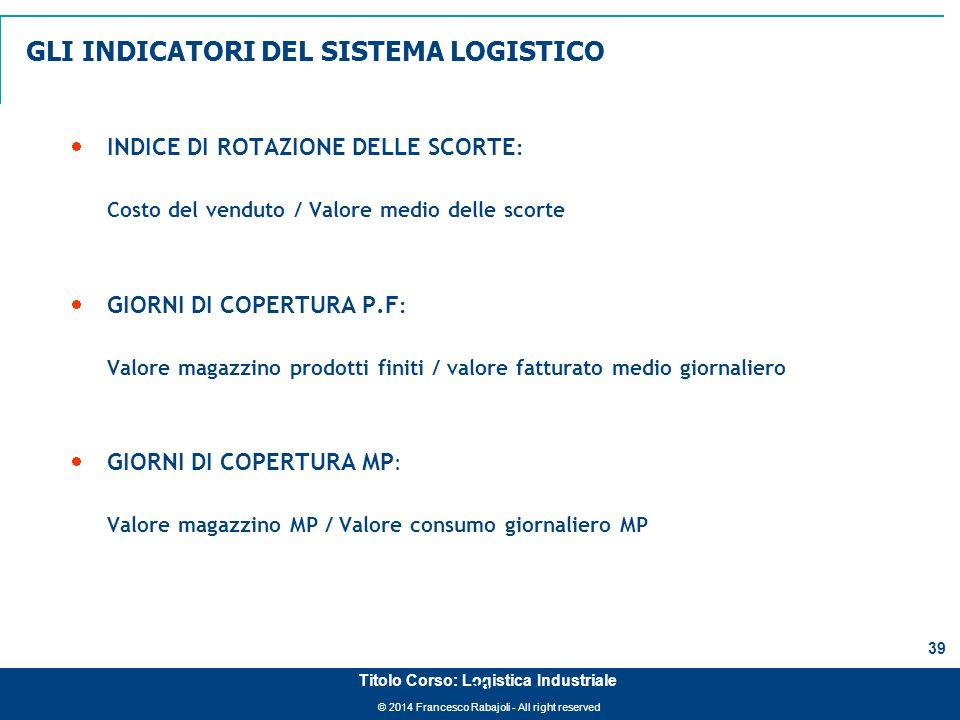 © 2014 Francesco Rabajoli - All right reserved 39 Titolo Corso: Logistica Industriale  INDICE DI ROTAZIONE DELLE SCORTE : Costo del venduto / Valore