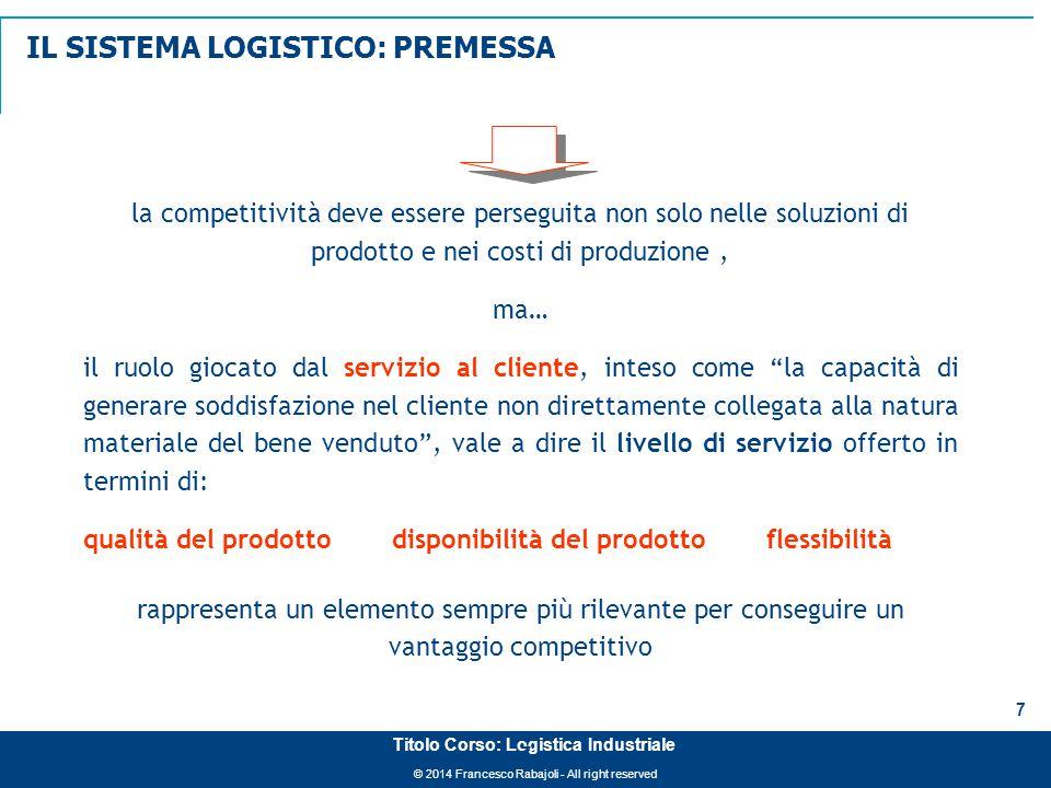 © 2014 Francesco Rabajoli - All right reserved 8 Titolo Corso: Logistica Industriale IL SISTEMA LOGISTICO È L'INSIEME DELLE INFRASTRUTTURE, DELLE ATTREZZATURE, DEL PERSONALE E DELLE POLITICHE OPERATIVE CHE PERMETTE IL FLUSSO DEI BENI (E DELLE NECESSARIE INFORMAZIONI) DALLA ACQUISIZIONE DEI MATERIALI ALLA LORO DISTRIBUZIONE AI CONSUMATORI (J.