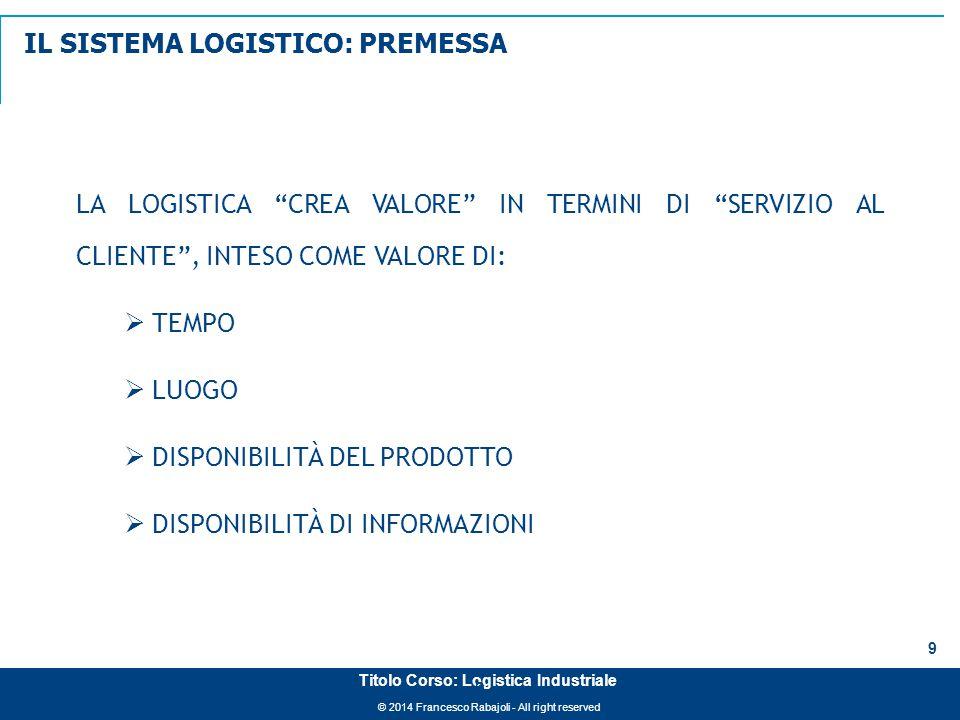 """© 2014 Francesco Rabajoli - All right reserved 9 Titolo Corso: Logistica Industriale LA LOGISTICA """"CREA VALORE"""" IN TERMINI DI """"SERVIZIO AL CLIENTE"""", I"""