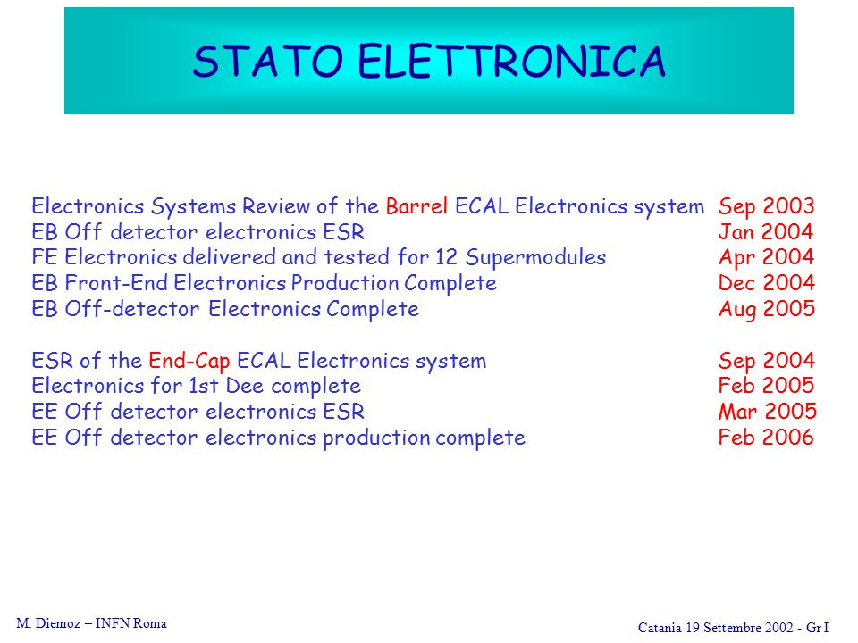 M. Diemoz – INFN Roma Catania 19 Settembre 2002 - Gr I STATO ELETTRONICA Electronics Systems Review of the Barrel ECAL Electronics systemSep 2003 EB O