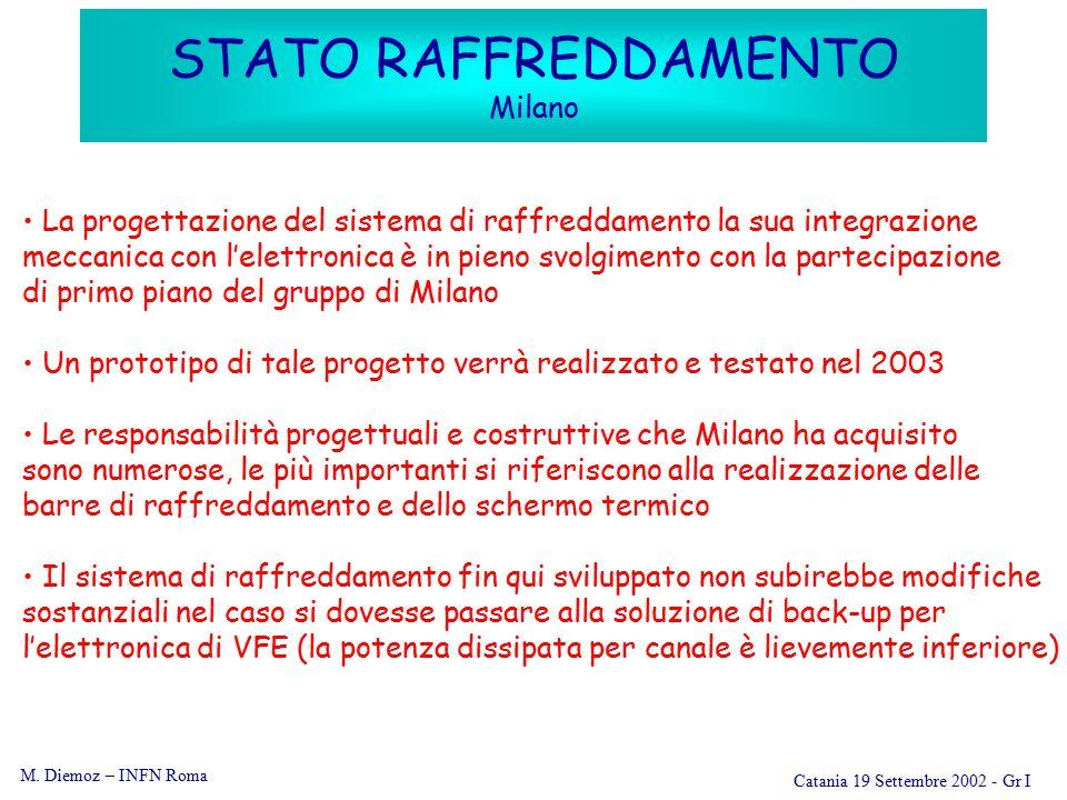 M. Diemoz – INFN Roma Catania 19 Settembre 2002 - Gr I STATO RAFFREDDAMENTO Milano La progettazione del sistema di raffreddamento la sua integrazione