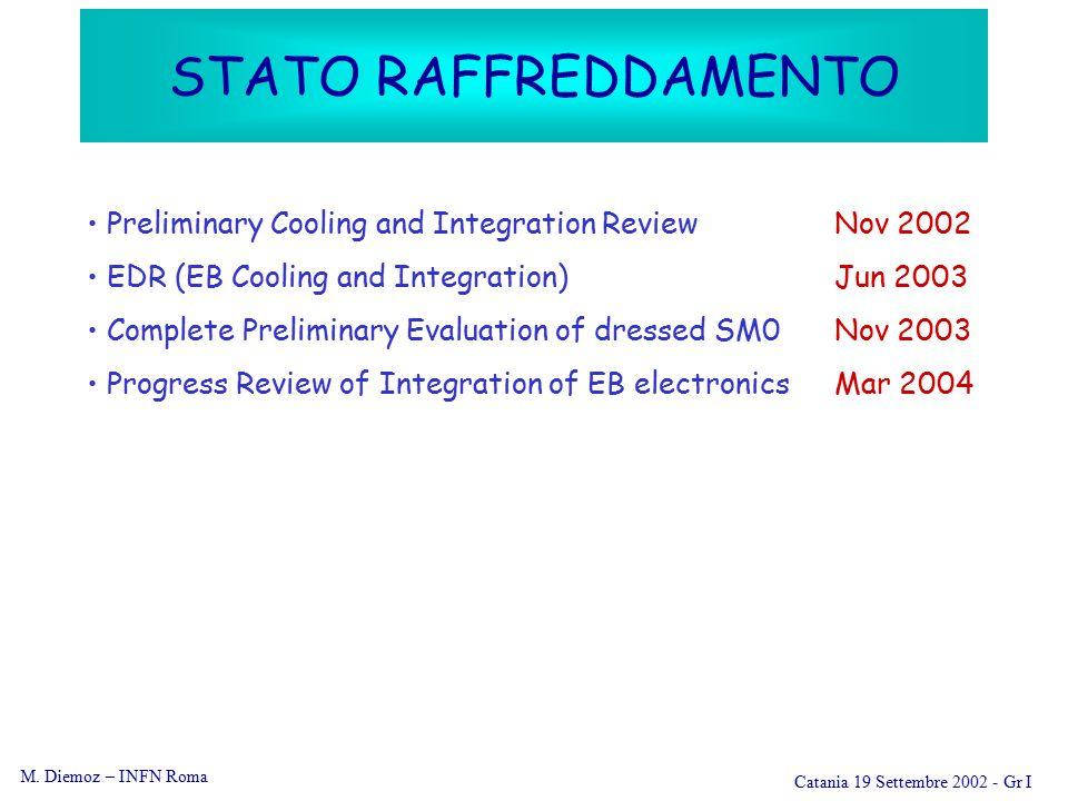 M. Diemoz – INFN Roma Catania 19 Settembre 2002 - Gr I STATO RAFFREDDAMENTO Preliminary Cooling and Integration ReviewNov 2002 EDR (EB Cooling and Int