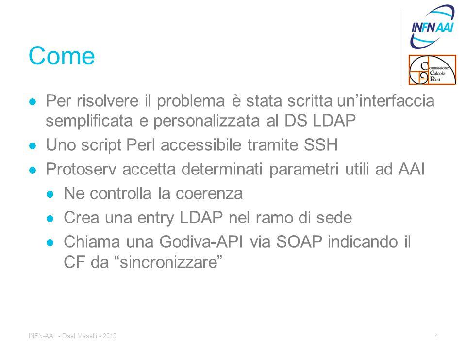 Come Per risolvere il problema è stata scritta un'interfaccia semplificata e personalizzata al DS LDAP Uno script Perl accessibile tramite SSH Protoserv accetta determinati parametri utili ad AAI Ne controlla la coerenza Crea una entry LDAP nel ramo di sede Chiama una Godiva-API via SOAP indicando il CF da sincronizzare 4INFN-AAI - Dael Maselli - 2010