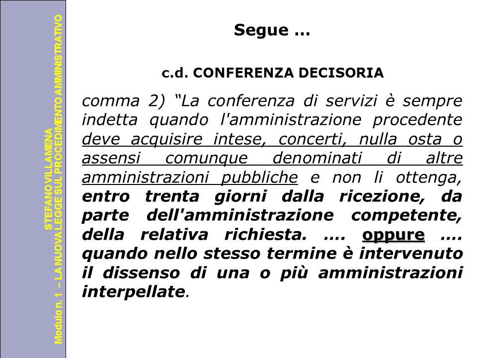 Università degli Studi di Perugia Modulo n. 1 – LA NUOVA LEGGE SUL PROCEDIMENTO AMMINISTRATIVO STEFANO VILLAMENA Segue … c.d. CONFERENZA DECISORIA opp