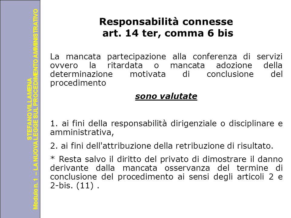 Università degli Studi di Perugia Modulo n. 1 – LA NUOVA LEGGE SUL PROCEDIMENTO AMMINISTRATIVO STEFANO VILLAMENA Responsabilità connesse art. 14 ter,
