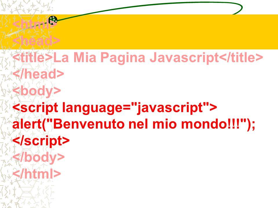 La Mia Pagina Javascript alert( Benvenuto nel mio mondo!!! );