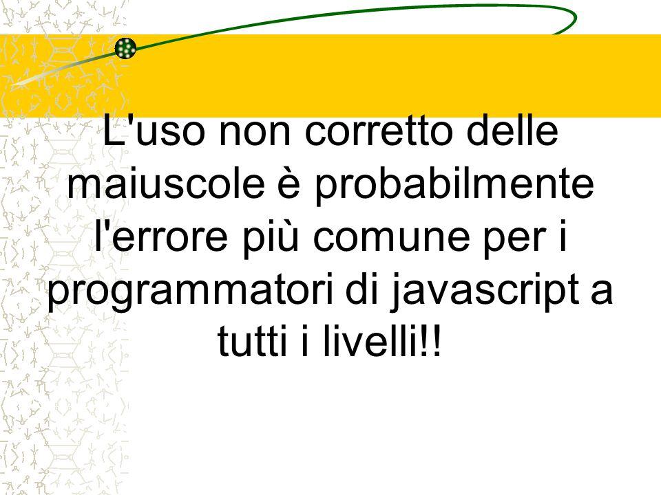 L'uso non corretto delle maiuscole è probabilmente l'errore più comune per i programmatori di javascript a tutti i livelli!!