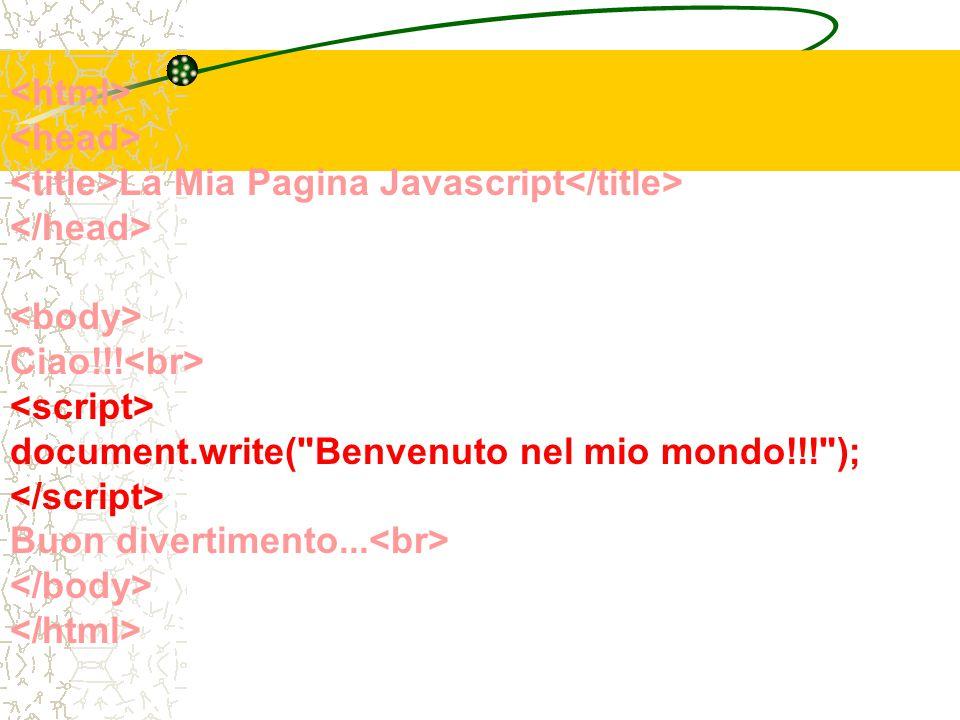 La Mia Pagina Javascript Ciao!!! document.write( Benvenuto nel mio mondo!!! ); Buon divertimento...