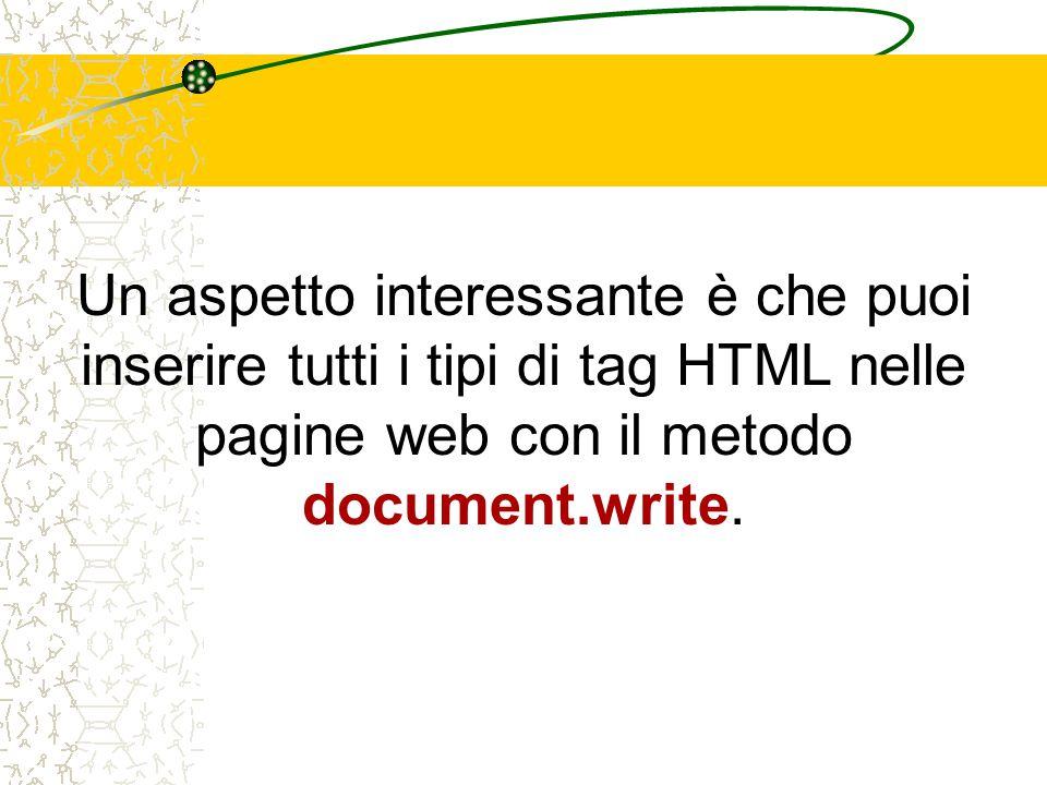 Un aspetto interessante è che puoi inserire tutti i tipi di tag HTML nelle pagine web con il metodo document.write.