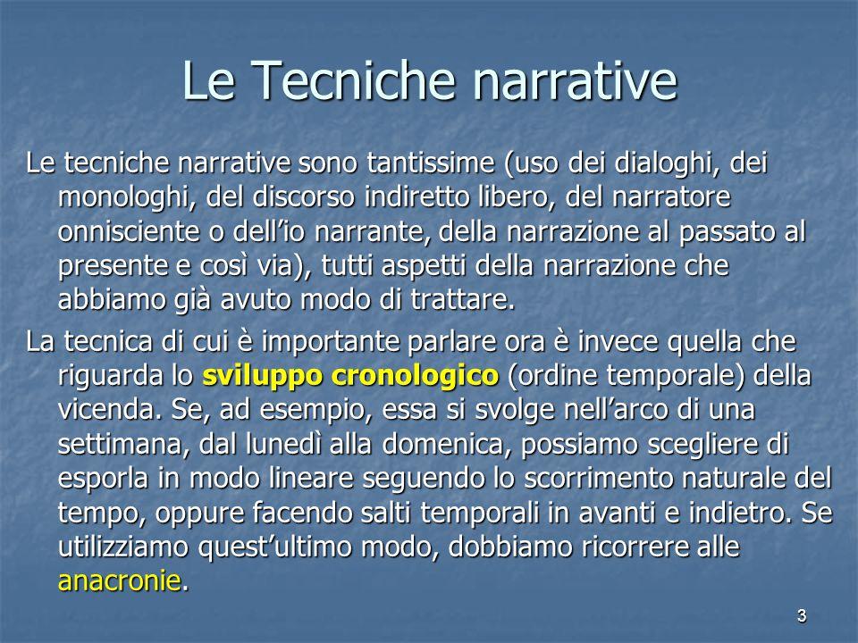 3 Le Tecniche narrative Le tecniche narrative sono tantissime (uso dei dialoghi, dei monologhi, del discorso indiretto libero, del narratore onniscien