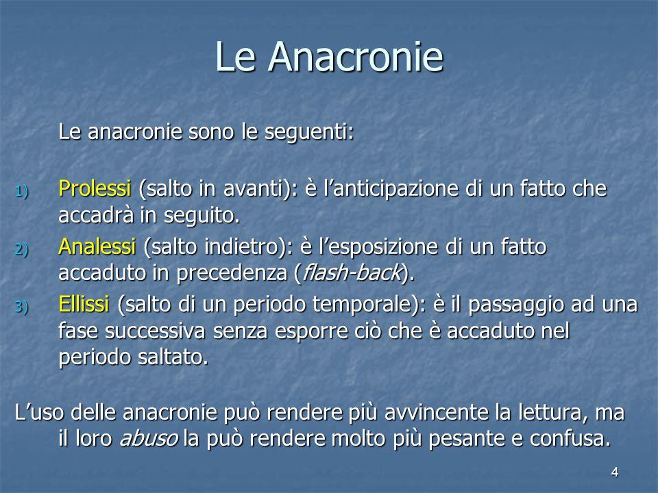 4 Le Anacronie Le anacronie sono le seguenti: 1) Prolessi (salto in avanti): è l'anticipazione di un fatto che accadrà in seguito. 2) Analessi (salto
