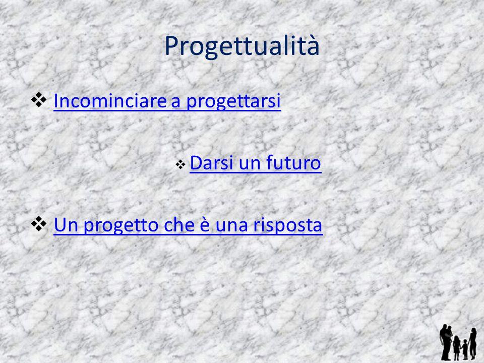 Progettualità  Incominciare a progettarsiIncominciare a progettarsi  Darsi un futuro Darsi un futuro  Un progetto che è una rispostaUn progetto che