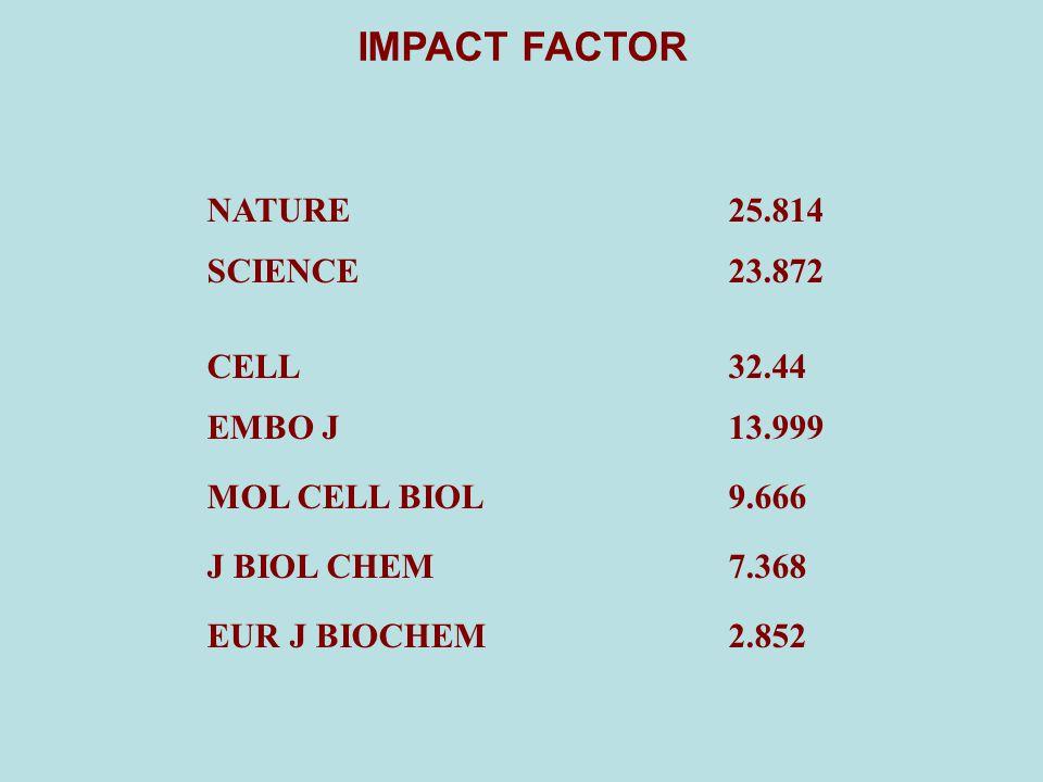 CELL 32.44 EMBO J 13.999 EUR J BIOCHEM 2.852 J BIOL CHEM 7.368 MOL CELL BIOL 9.666 NATURE 25.814 SCIENCE 23.872 IMPACT FACTOR