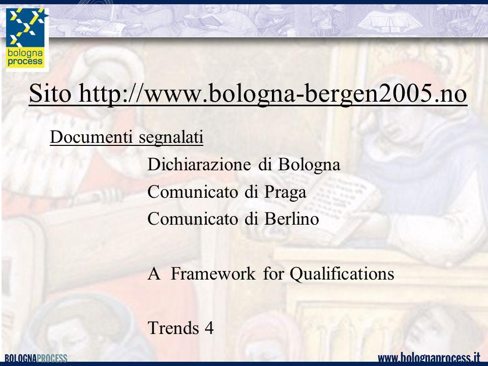 Sito http://www.bologna-bergen2005.no Documenti segnalati Dichiarazione di Bologna Comunicato di Praga Comunicato di Berlino A Framework for Qualifications Trends 4