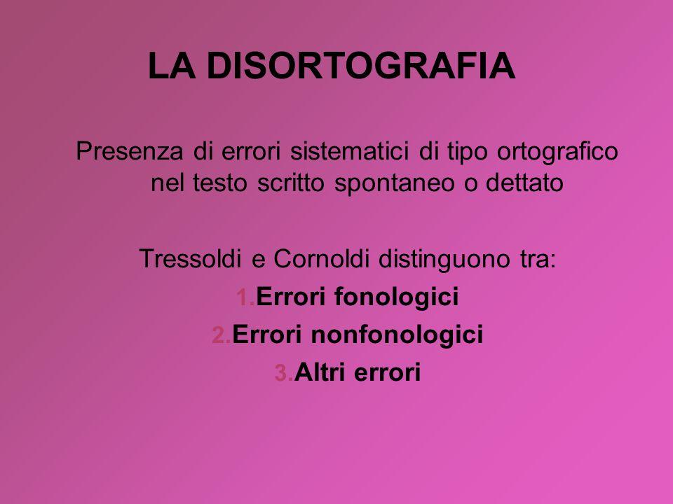 Presenza di errori sistematici di tipo ortografico nel testo scritto spontaneo o dettato Tressoldi e Cornoldi distinguono tra: 1. Errori fonologici 2.