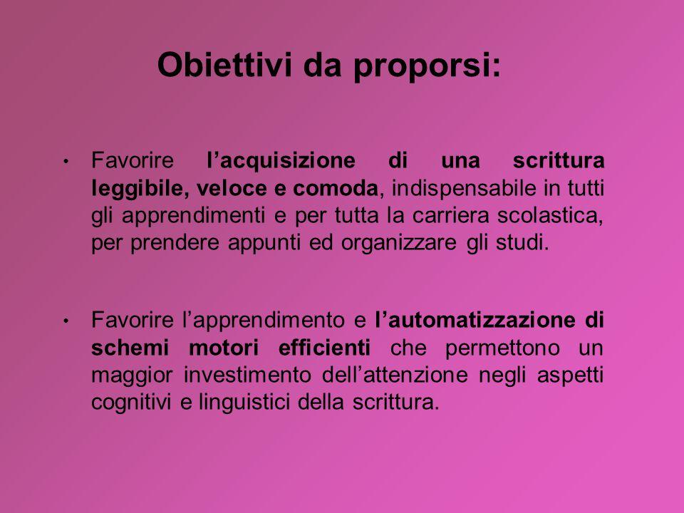 Obiettivi da proporsi: Favorire l'acquisizione di una scrittura leggibile, veloce e comoda, indispensabile in tutti gli apprendimenti e per tutta la c