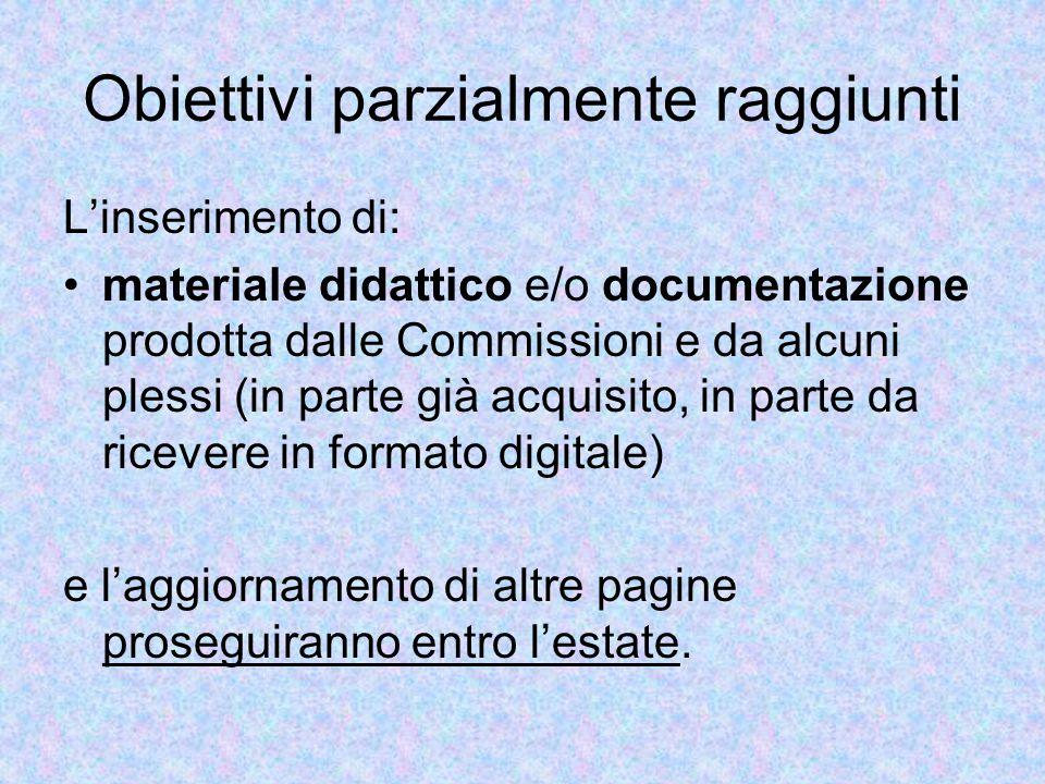 Obiettivi parzialmente raggiunti L'inserimento di: materiale didattico e/o documentazione prodotta dalle Commissioni e da alcuni plessi (in parte già