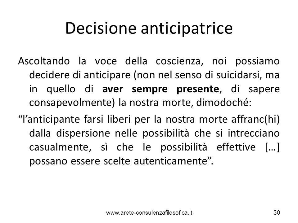 Decisione anticipatrice Ascoltando la voce della coscienza, noi possiamo decidere di anticipare (non nel senso di suicidarsi, ma in quello di aver sem