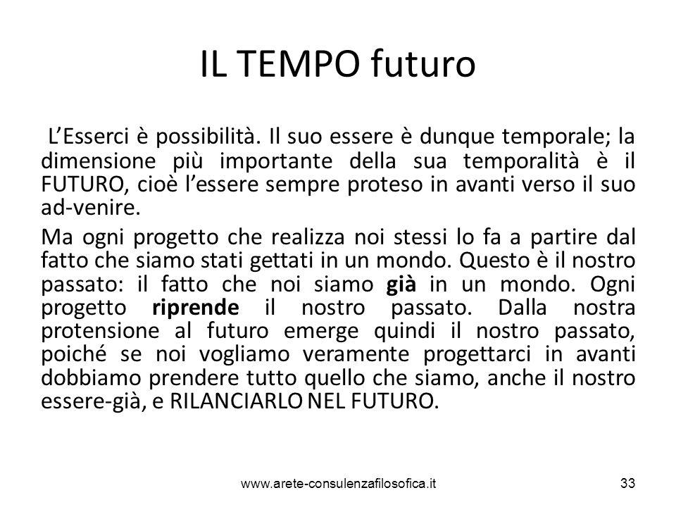 IL TEMPO futuro L'Esserci è possibilità. Il suo essere è dunque temporale; la dimensione più importante della sua temporalità è il FUTURO, cioè l'esse