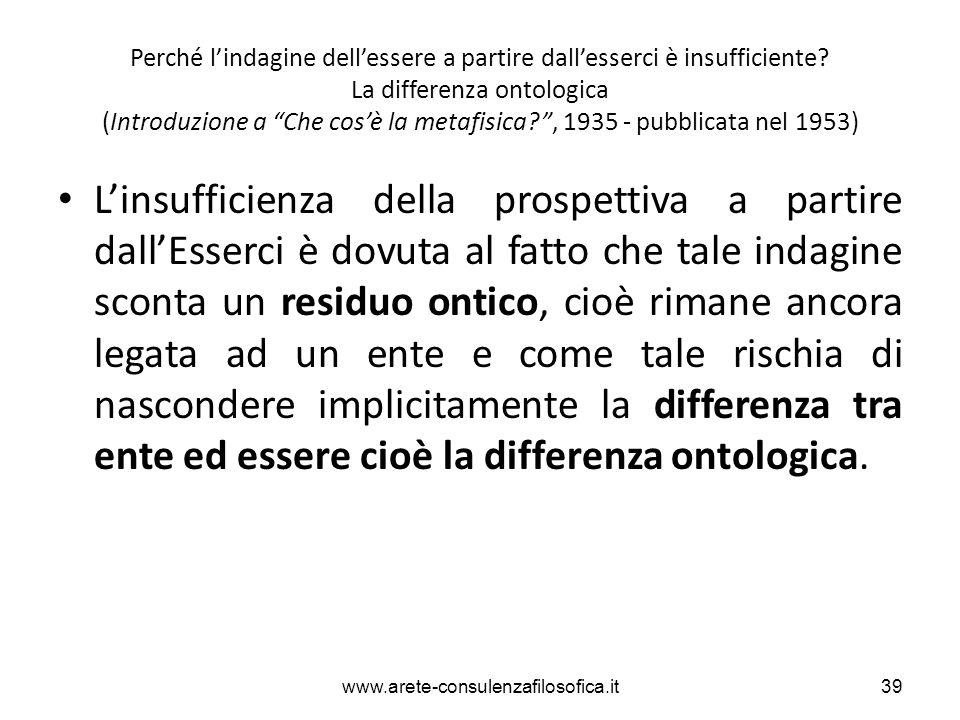 """Perché l'indagine dell'essere a partire dall'esserci è insufficiente? La differenza ontologica (Introduzione a """"Che cos'è la metafisica?"""", 1935 - pubb"""
