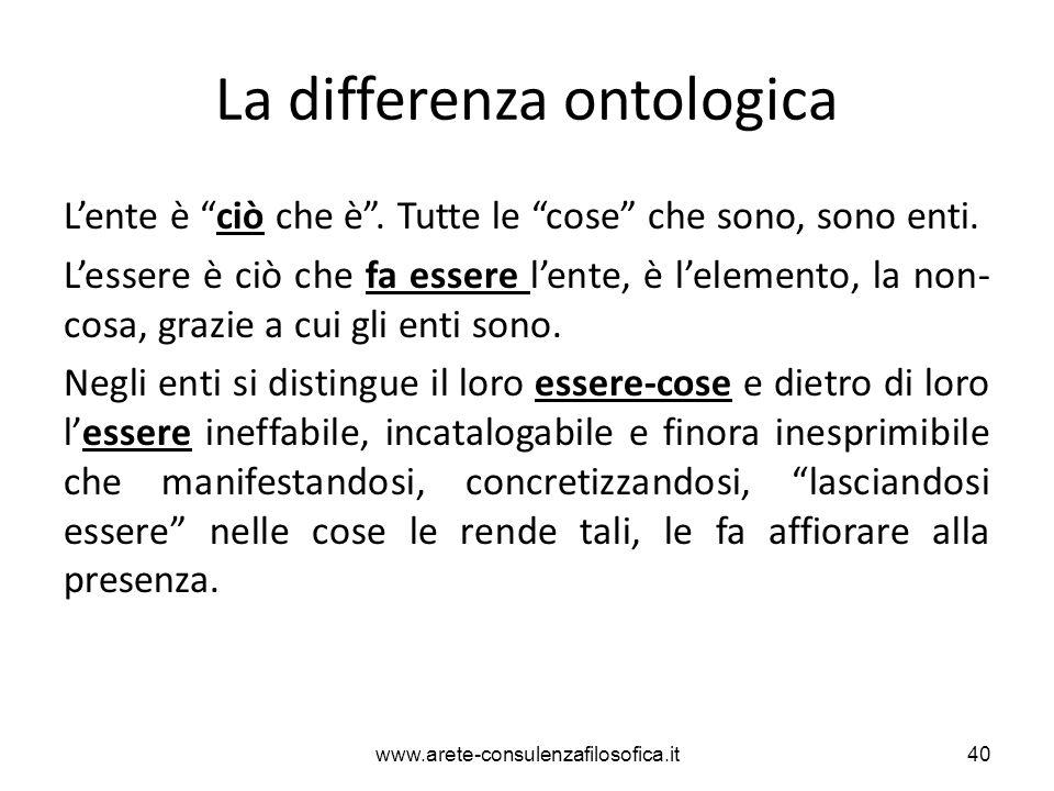 """La differenza ontologica L'ente è """"ciò che è"""". Tutte le """"cose"""" che sono, sono enti. L'essere è ciò che fa essere l'ente, è l'elemento, la non- cosa, g"""