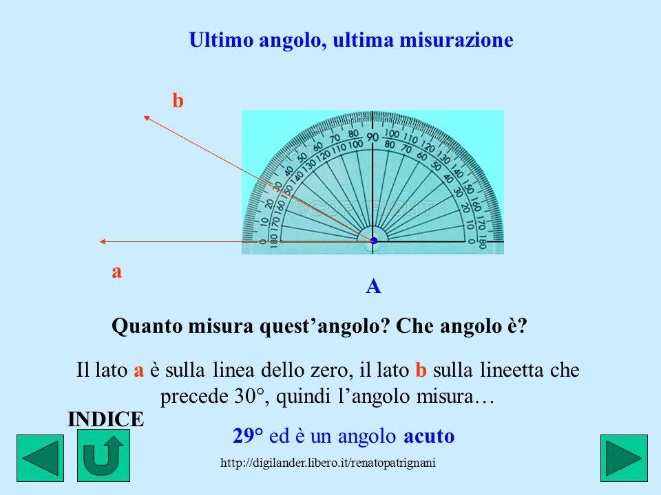 http://digilander.libero.it/renatopatrignani. A a b Il foro del goniometro sempre sul vertice dell'angolo. La linea dello zero questa volta è sul lato